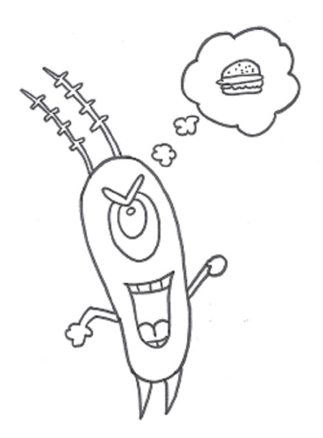 plankton printable spongebob cartoon coloring pages
