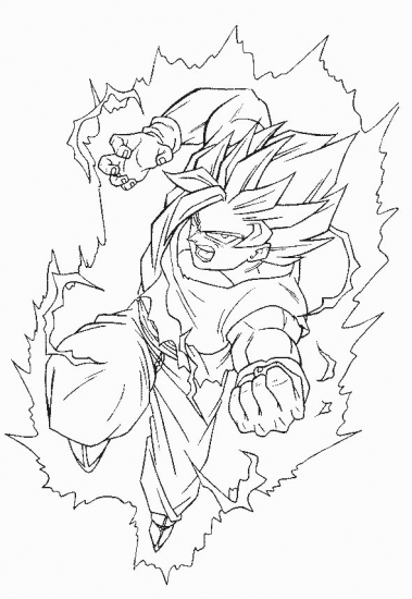 Transmissionpress dragon ball z goku super saiyan for Dbz coloring pages goku