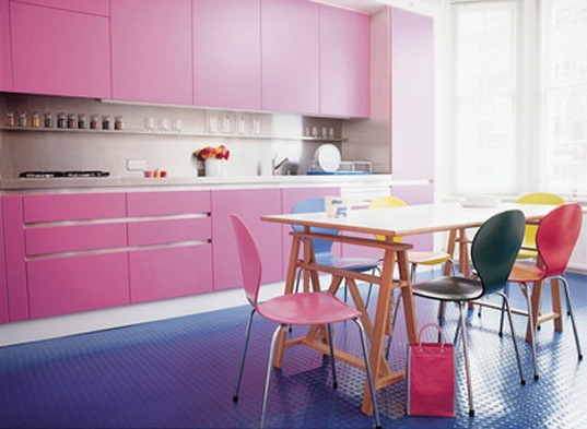 Contemporary Modern Pink Kitchen Decorate Ideas