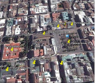 Localização de atrações turísticas do centro de Santiago do Chile