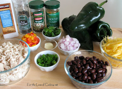Chicken and Black Bean Stuffed Poblano Peppers