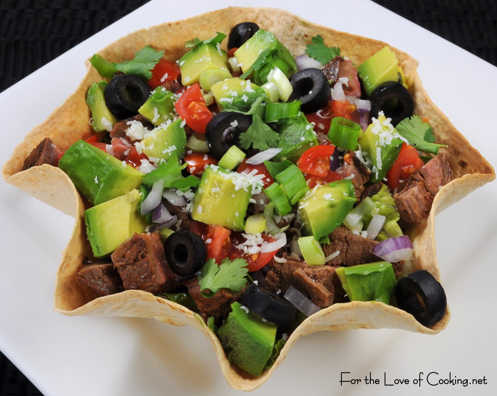 Flank Steak and Avocado Taco Salad | For the Love of Cooking