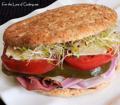Turkey and Roast Beef Sandwich with Extra Sharp Cheddar