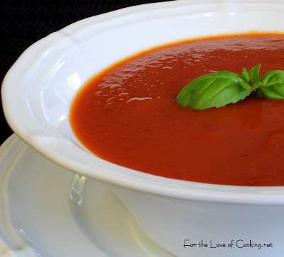 Roasted Garlic and Tomato Soup with Fresh Basil