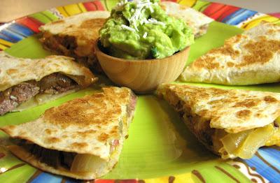 Flank Steak, Caramelized Onion and Extra Sharp Cheddar Quesadillas