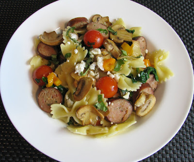 Farfalle with Chicken Sausage, Mushrooms, Grape Tomatoes and Feta