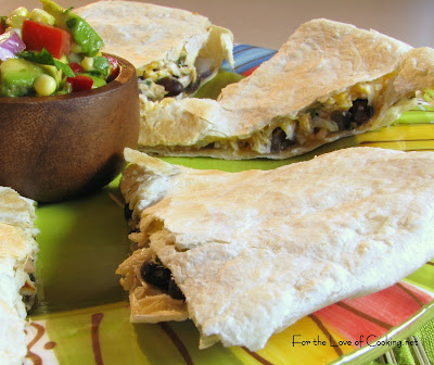 Chicken, Black Bean and Caramelized Red Onion Quesadilla