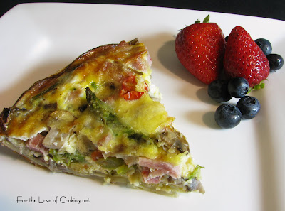 Asparagus, Mushroom and Ham Quiche with a Potato Crust