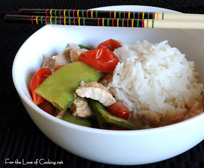 Red Curry Pork with Tomatoes and Snow Peas over Jasmine Rice
