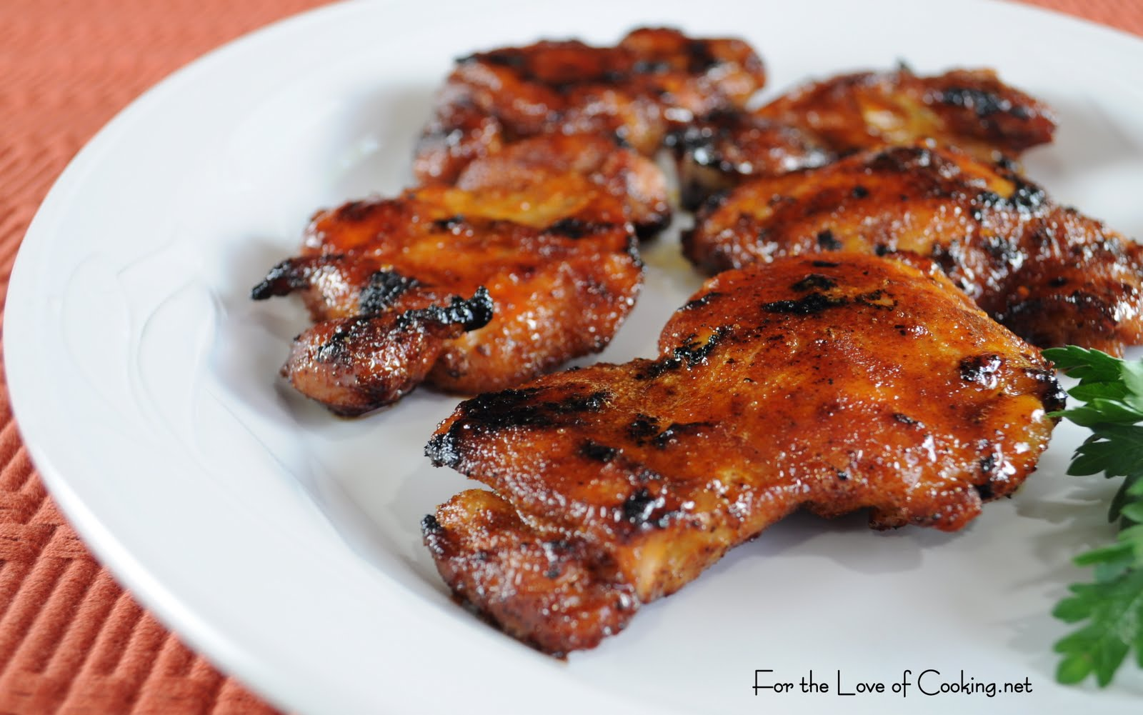 Spicy Honey Brushed Chicken Thighs | For the Love of Cooking