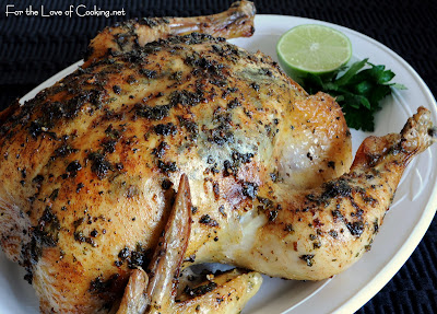 Slow Roasted Chicken with Cilantro-Lime Butter
