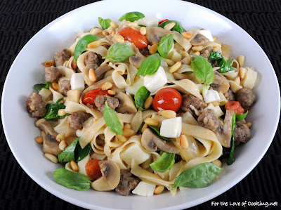 Fettuccine with Italian Sausage, Mushrooms, Tomatoes, Spinach, Pine Nuts, and Basil