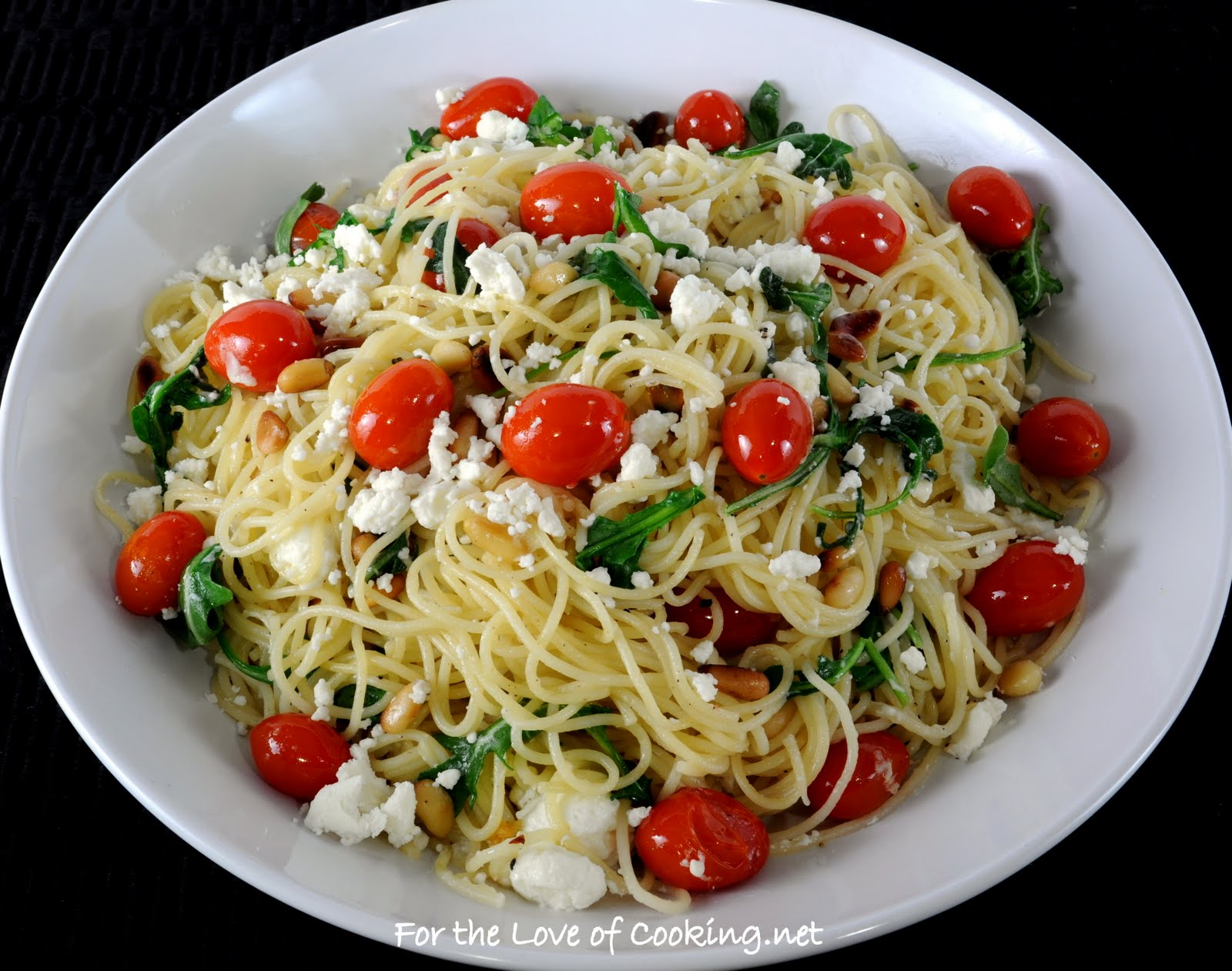 Angel Hair Pasta With Arugula Feta Cheese Tomatoes And