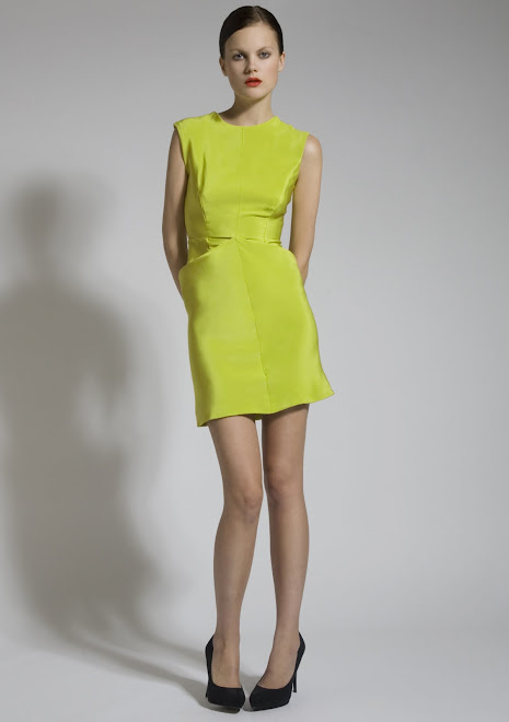 Floro Lime Green Silk Dress