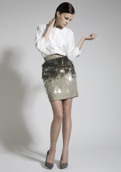 Khaki Perspex Skirt and Cotton Shirt