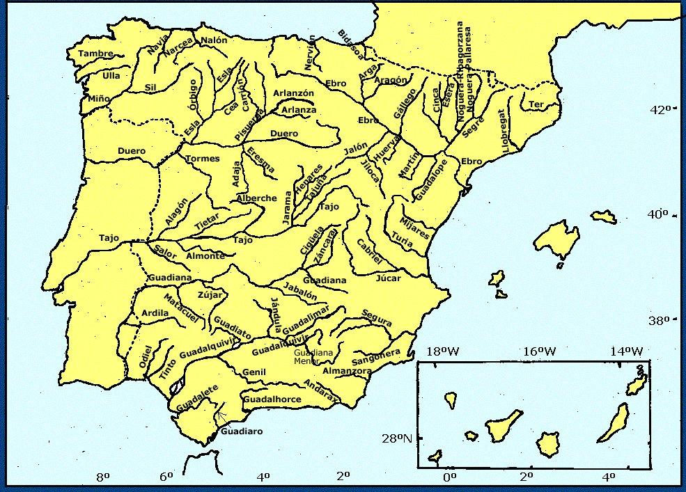 Mapa Mudo De Rios De Espaa Y Sus Afluentes Para Imprimir