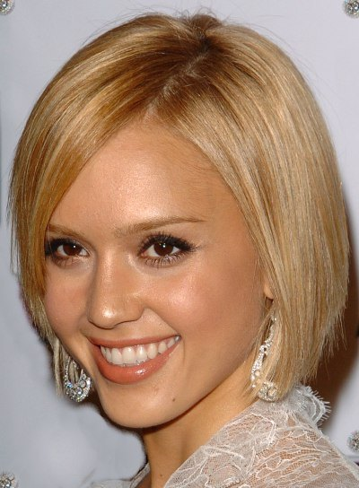 with one of the new, modern and mostly short hair cuts of Jessica Alba