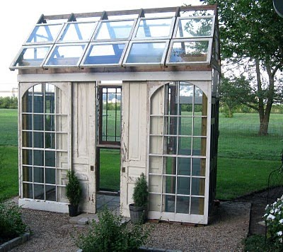Summer house or greenhouse from reclaimed parts content for Reclaimed window greenhouse