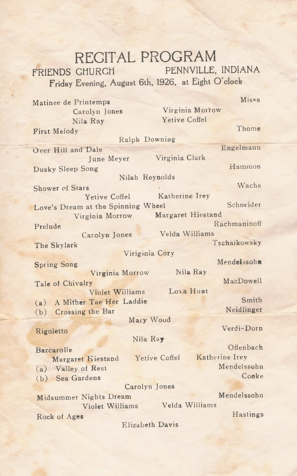 piano recital program template download