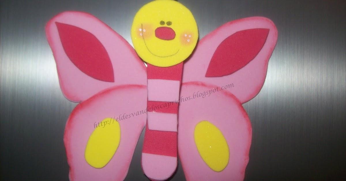 El Desván de los Caprichos: Mariposas de Goma Eva (imanes para la ...