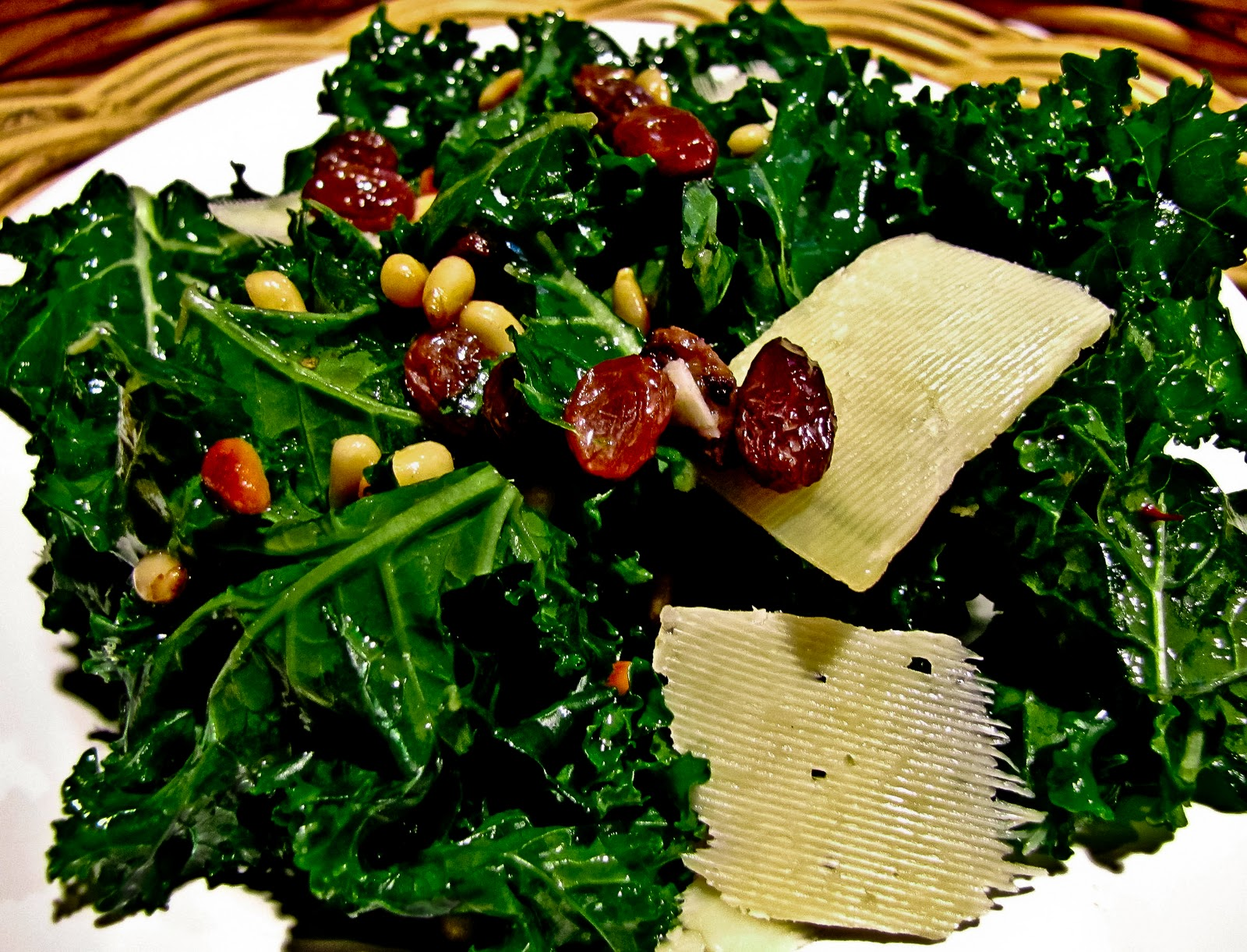 Raw Kale Salad With Balsamic, Pine Nuts, And Parmesan Recipes ...