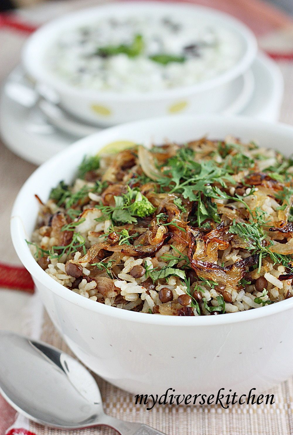 ... in Spiced Yogurt) And Mujadara (Lentils and Caramelized Onion Pilaf