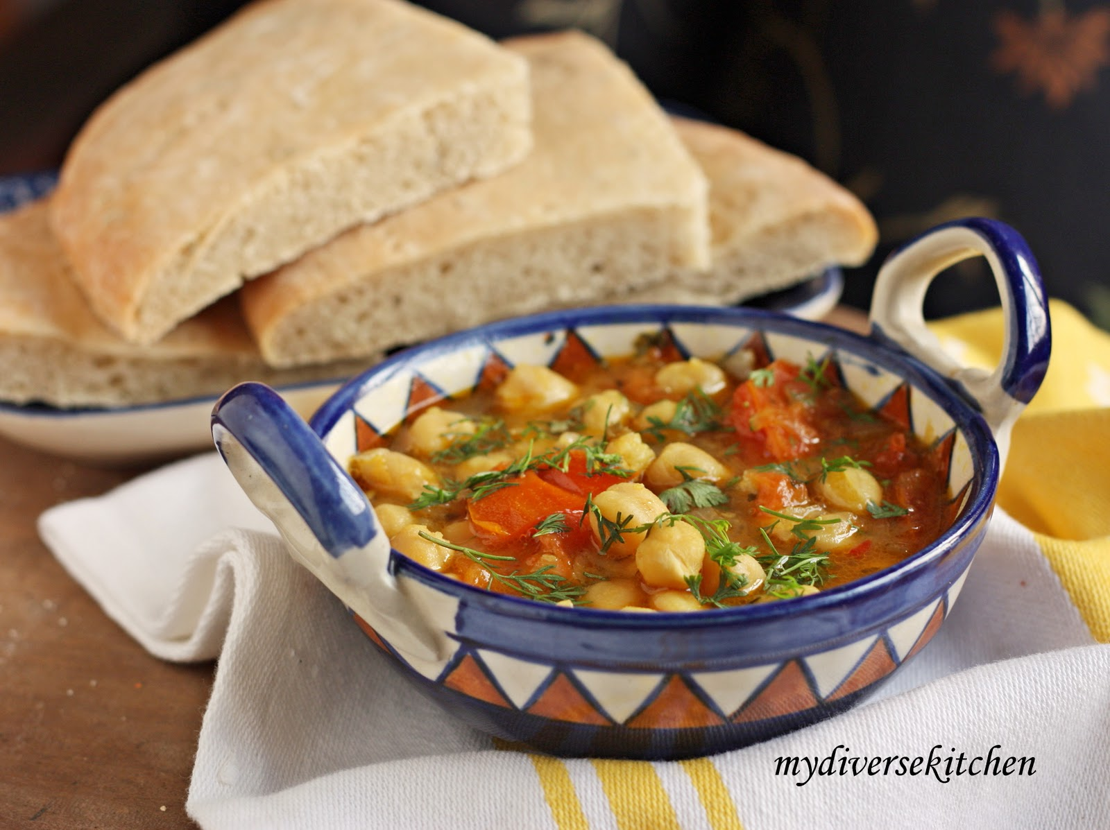 ... Moroccan Style Chickpea Soup With K'sra (Moroccan Aniseed Flatbread