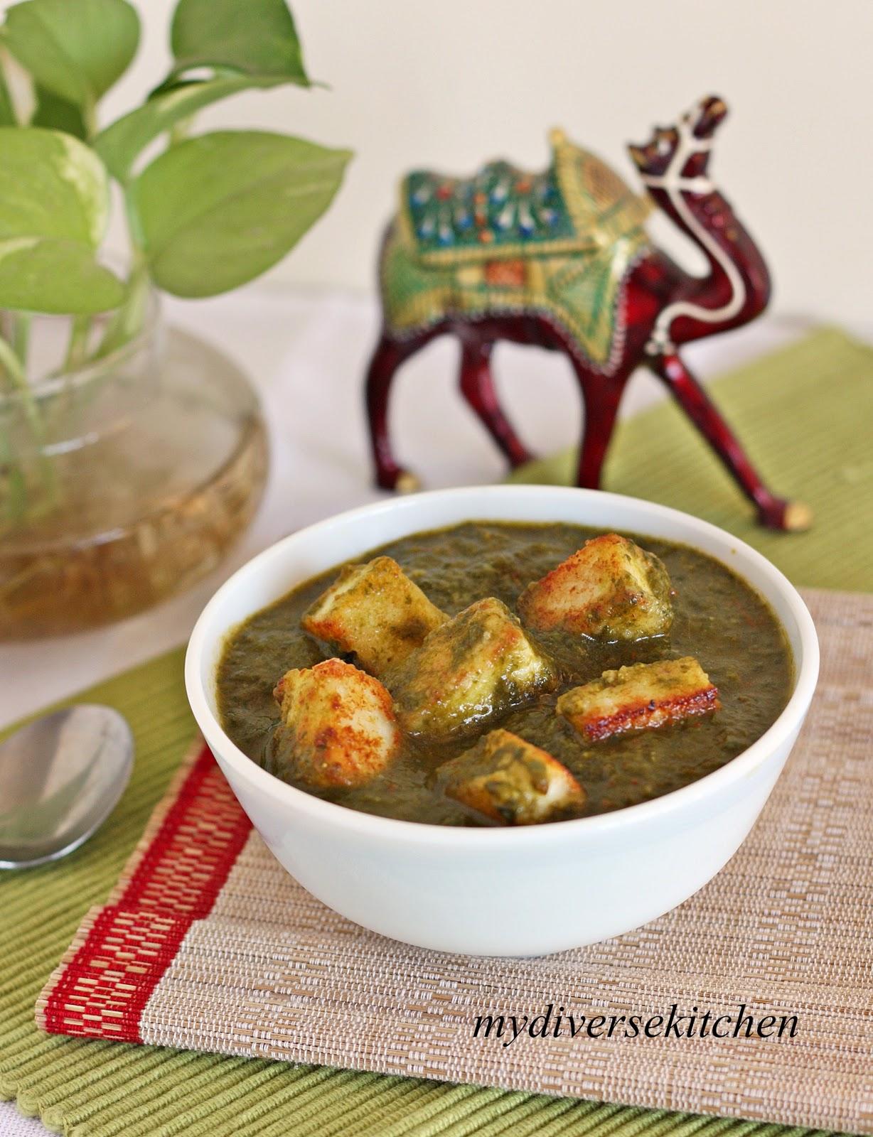 ... Diverse Kitchen: Palak Paneer (Indian Cheese In A Mild Spinach Gravy