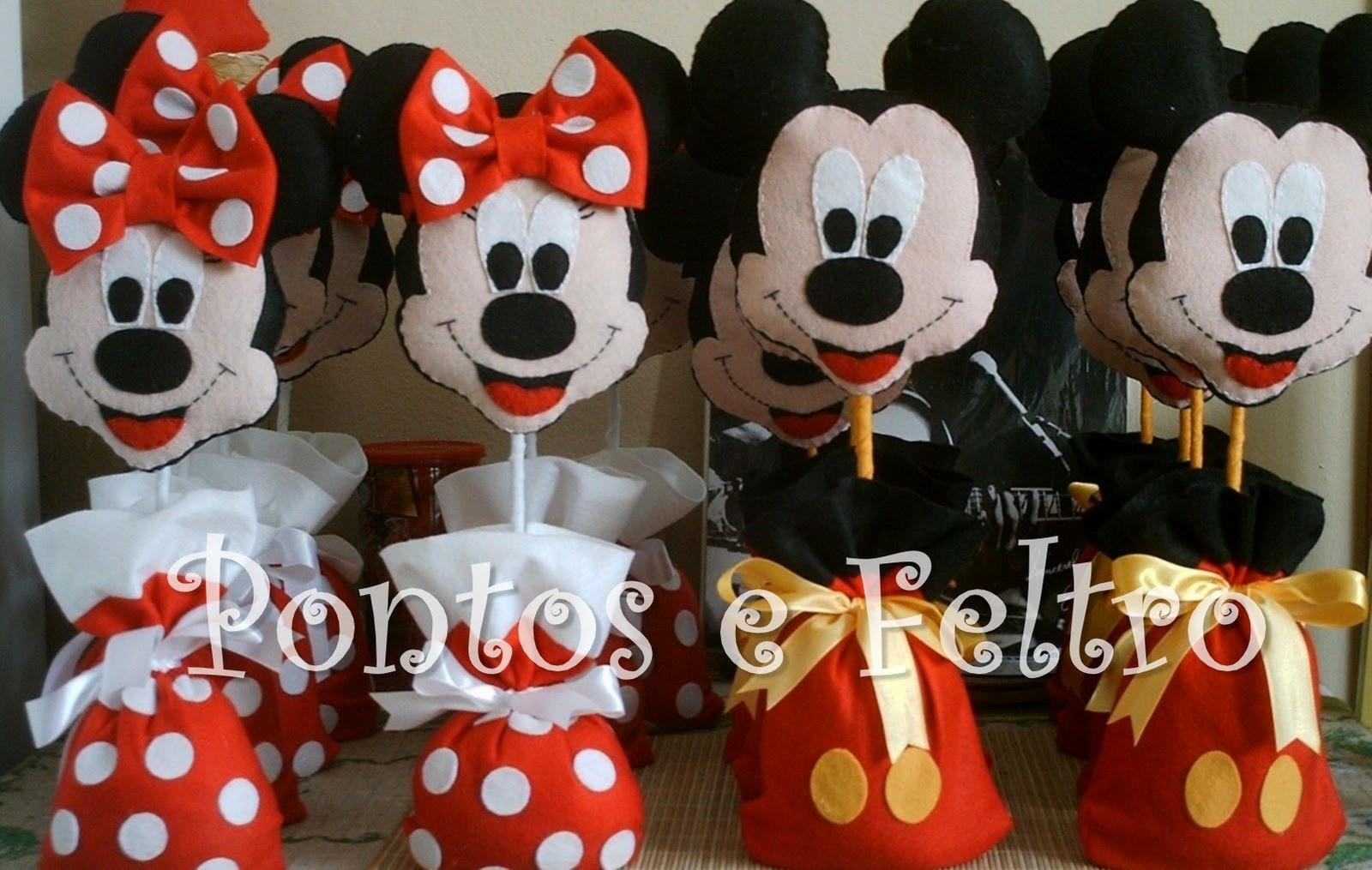 Feltro - Mickey e Minnie - Centro de Mesa - CÓD ( BL MMPESO 114)