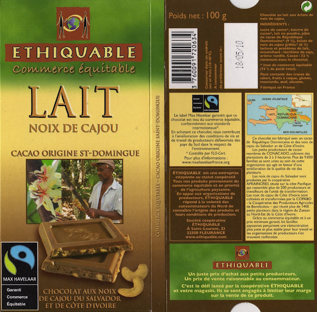tablette de chocolat lait gourmand ethiquable st domingue lait noix de cajou