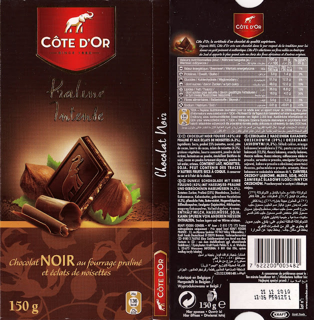 tablette de chocolat noir fourré côte d'or praliné intense