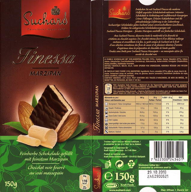 tablette de chocolat noir fourré suchard finessa marzipan
