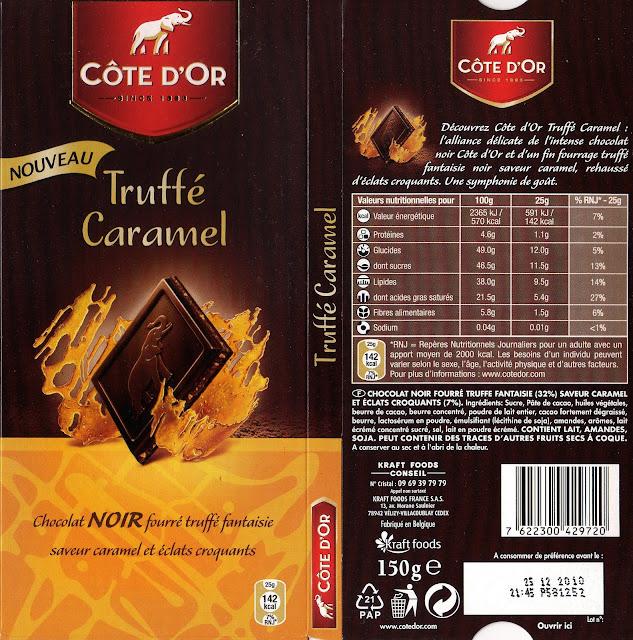 tablette de chocolat noir fourré côte d'or truffé caramel