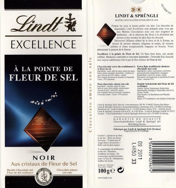 tablette de chocolat noir gourmand lindt excellence à la pointe de fleur de sel