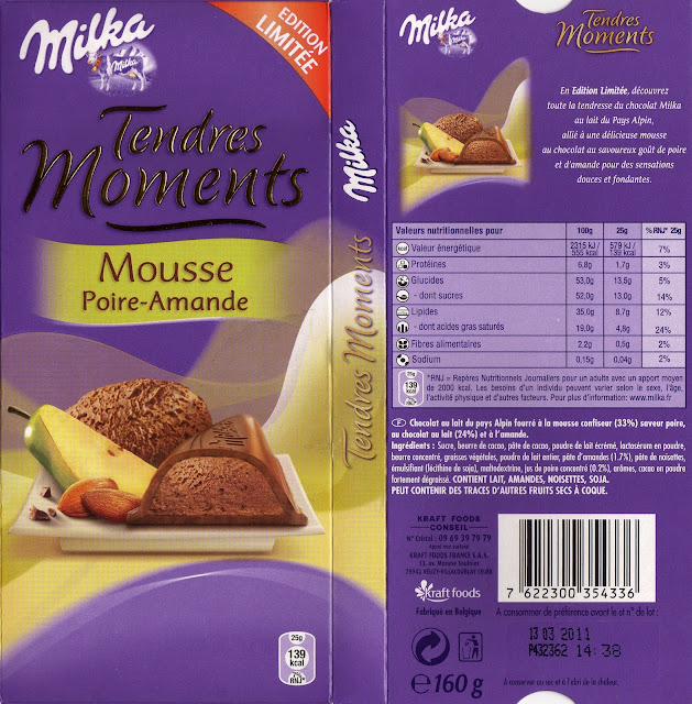 tablette de chocolat lait fourré milka tendres moments mousse poire-amande