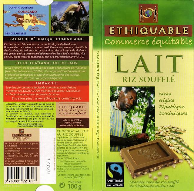tablette de chocolat lait gourmand ethiquable république dominicaine lait riz soufflé