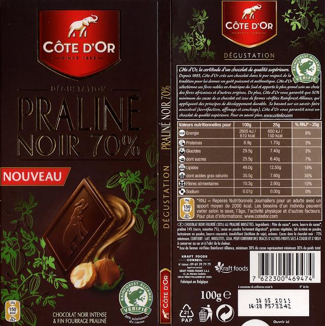 tablette de chocolat noir fourré côte d'or praliné noir 70