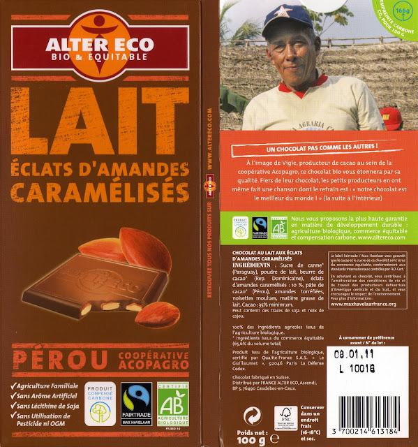 tablette de chocolat lait gourmand alter eco pérou lait eclats d'amandes caramélisés