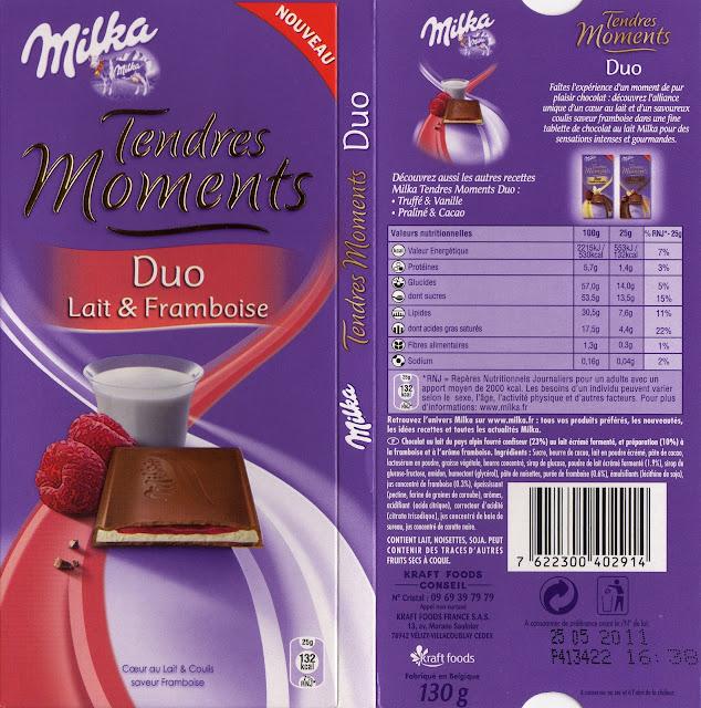 tablette de chocolat lait fourré milka tendres moments duo lait & framboise