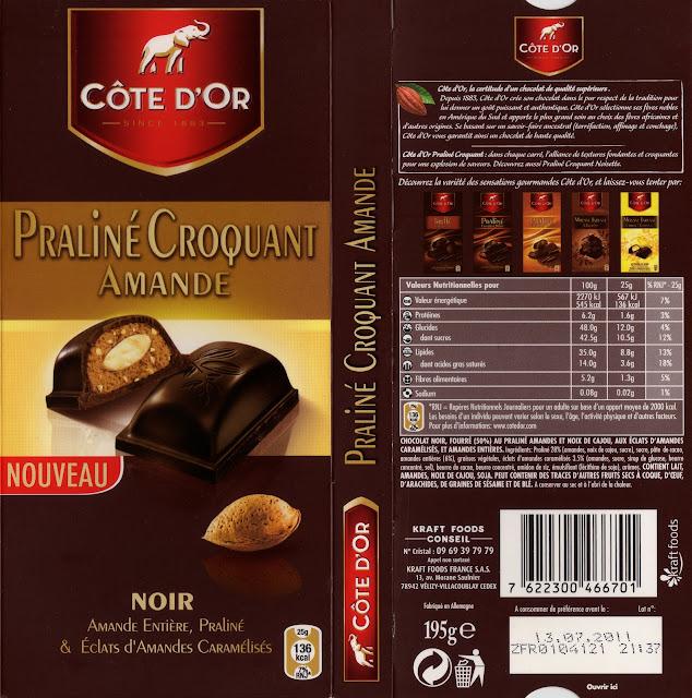 tablette de chocolat noir gourmand côte d'or noir praliné croquant amande