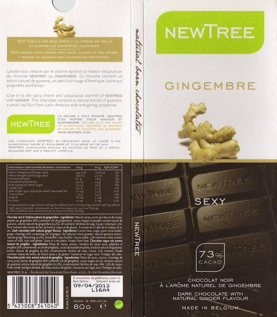 tablette de chocolat noir gourmand newtree gingembre sexy noir 73