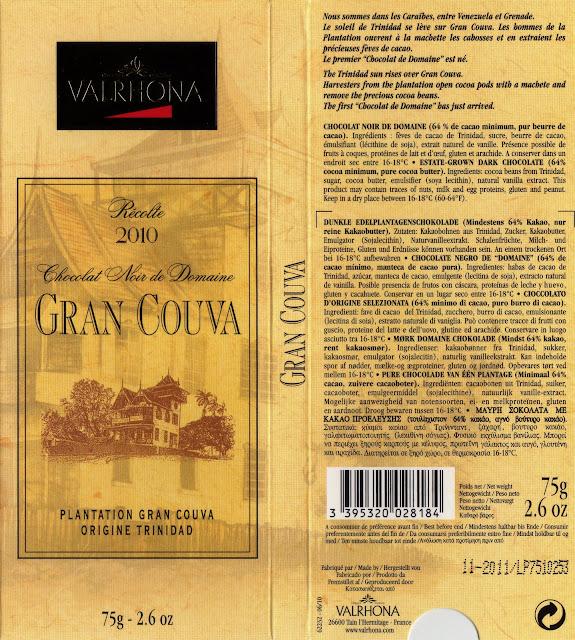 tablette de chocolat noir dégustation valrhona noir de domaine gran couva trinidad