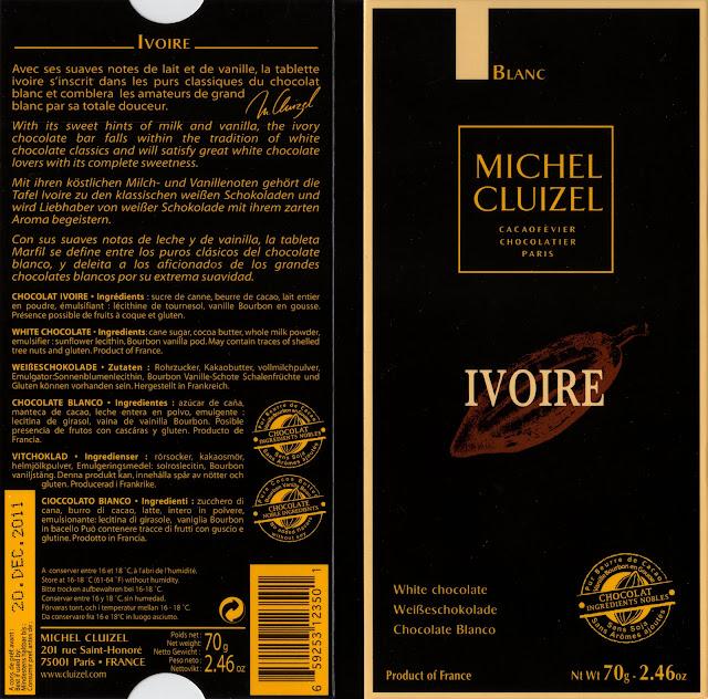 tablette de chocolat blanc dégustation michel cluizel blanc ivoire
