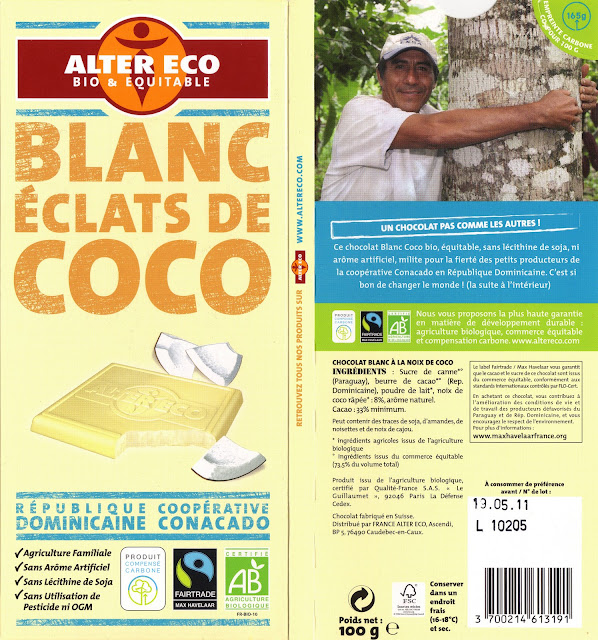 tablette de chocolat blanc gourmand alter eco république dominicaine blanc eclats de coco