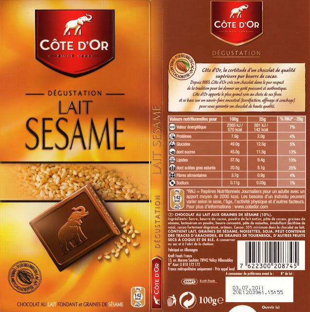 tablette de chocolat lait gourmand côte d'or lait sésame