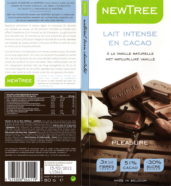 tablette de chocolat lait gourmand newtree lait intense en cacao à la vanille naturelle pleasure