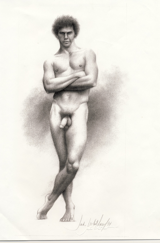 Nude men in black-and-white drawings. Botticelli Youth Nature Boy