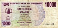 The Zimbabwe Dollar - 1,000,000 to 1