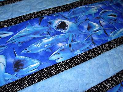 Shark-Filled Waters, quilting detail