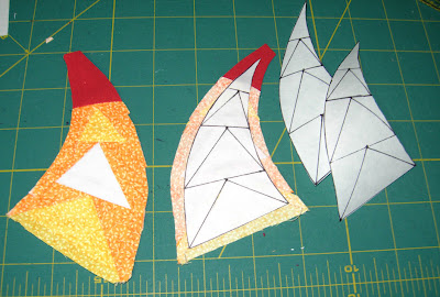samples of my freezer paper foundation pieced geese